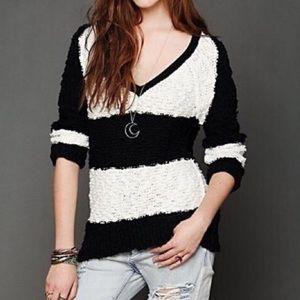 Free People Black White Striped Sweater Size XS